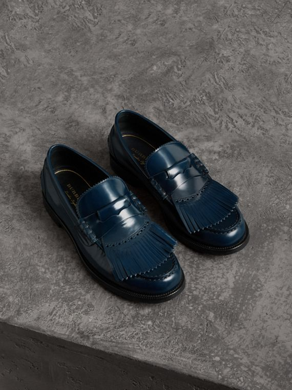 Kiltie Fringe Leather Loafers in Navy