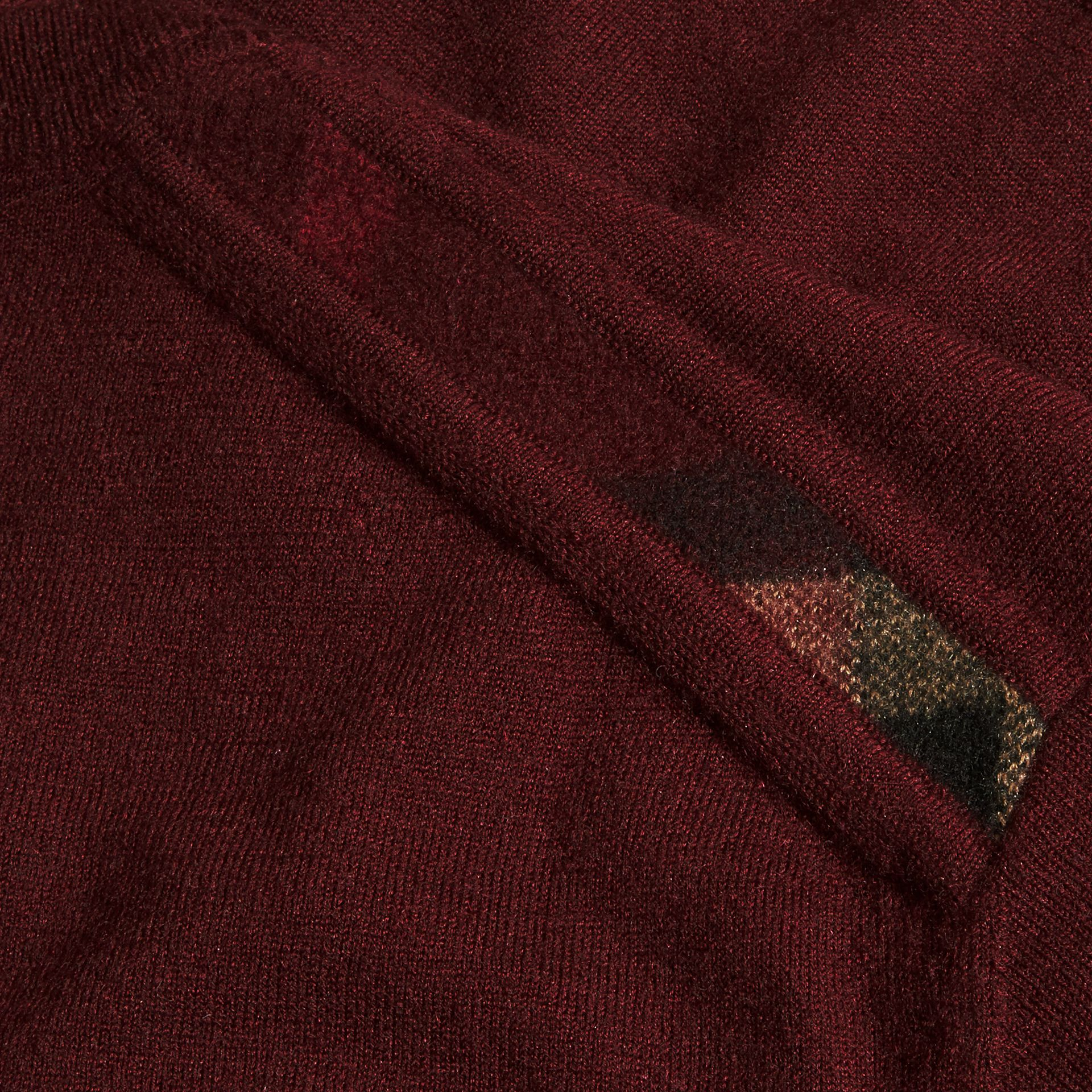Deep claret Lightweight Crew Neck Cashmere Sweater with Check Trim Deep Claret - gallery image 2