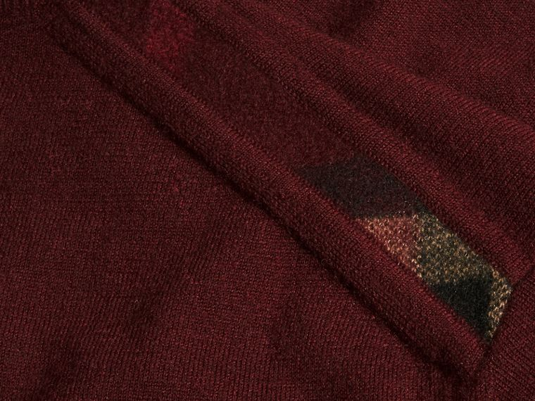 Lightweight Crew Neck Cashmere Sweater with Check Trim in Deep Claret - Men | Burberry - cell image 1