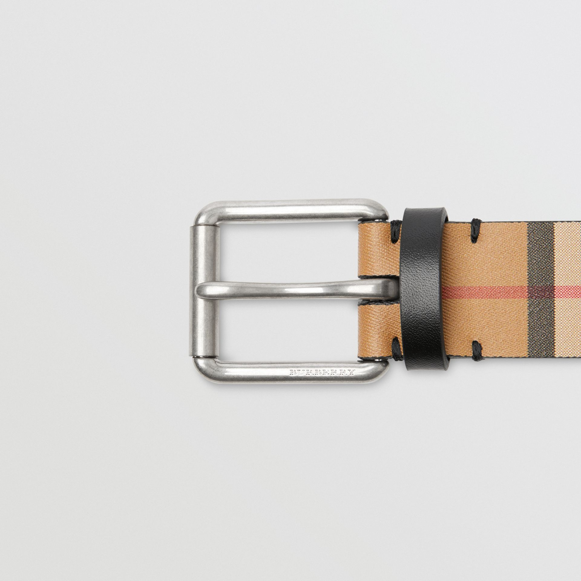 Vintage Check Leather Belt in Black - Men | Burberry Canada - gallery image 1
