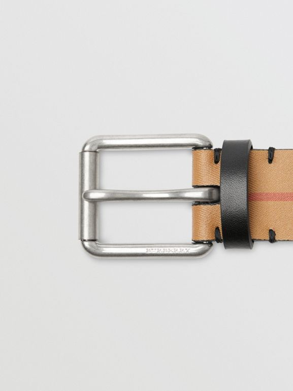 Vintage Check Leather Belt in Black - Men | Burberry Australia - cell image 1