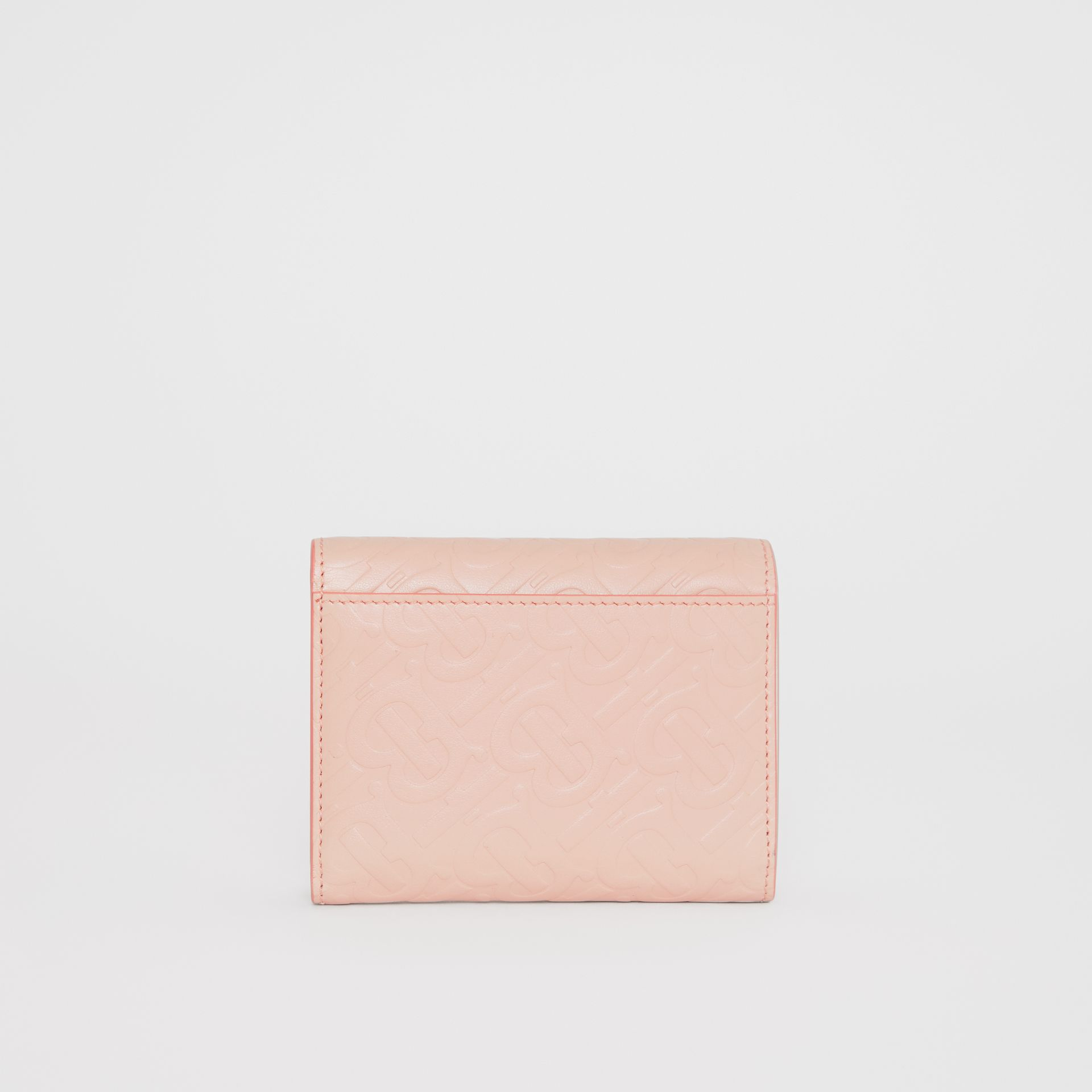 Small Monogram Leather Folding Wallet in Rose Beige - Women | Burberry - gallery image 4