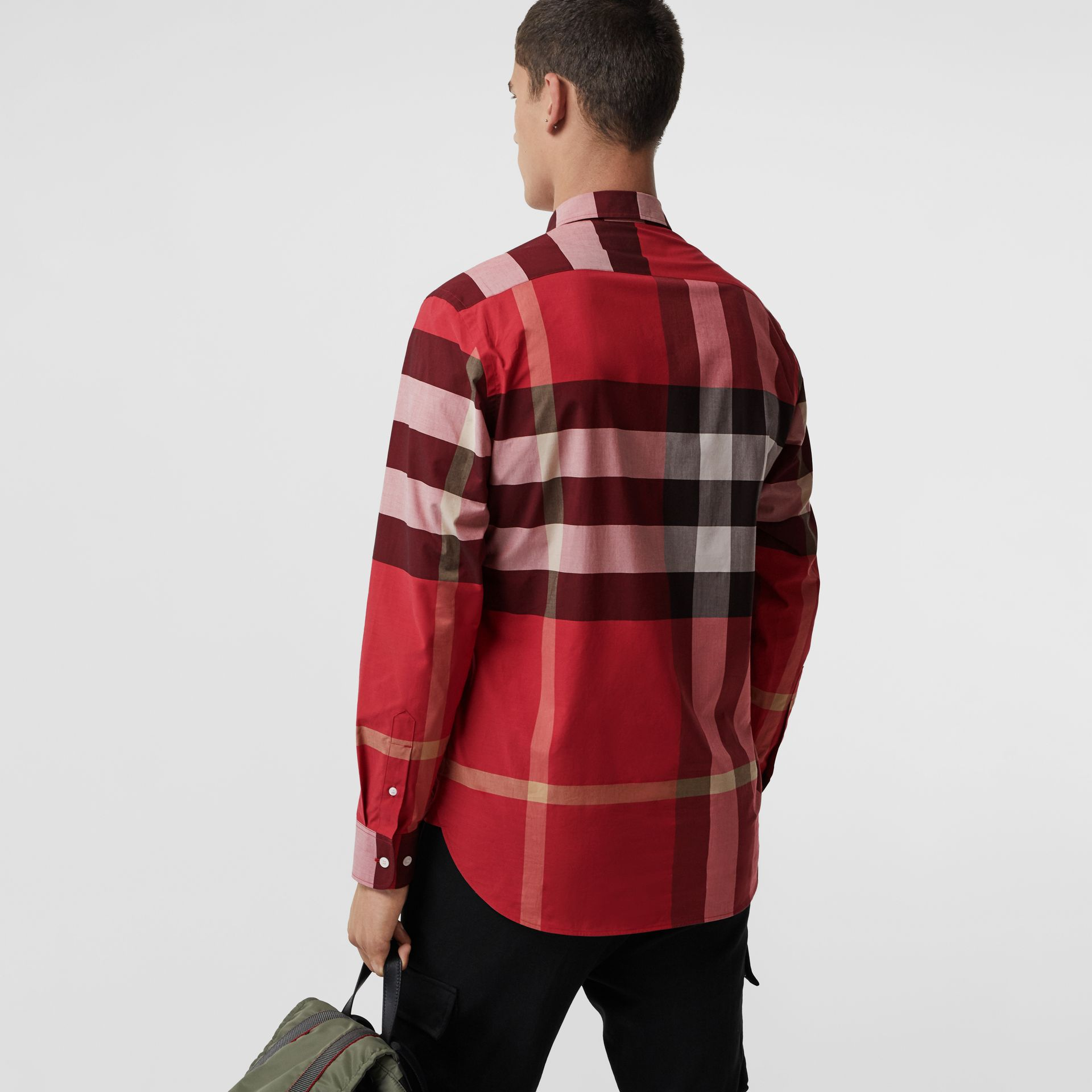 Check Stretch Cotton Shirt in Parade Red - Men | Burberry United Kingdom - gallery image 2