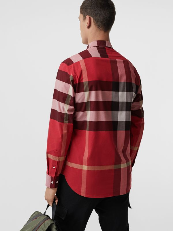 Check Stretch Cotton Shirt in Parade Red - Men | Burberry United Kingdom - cell image 2