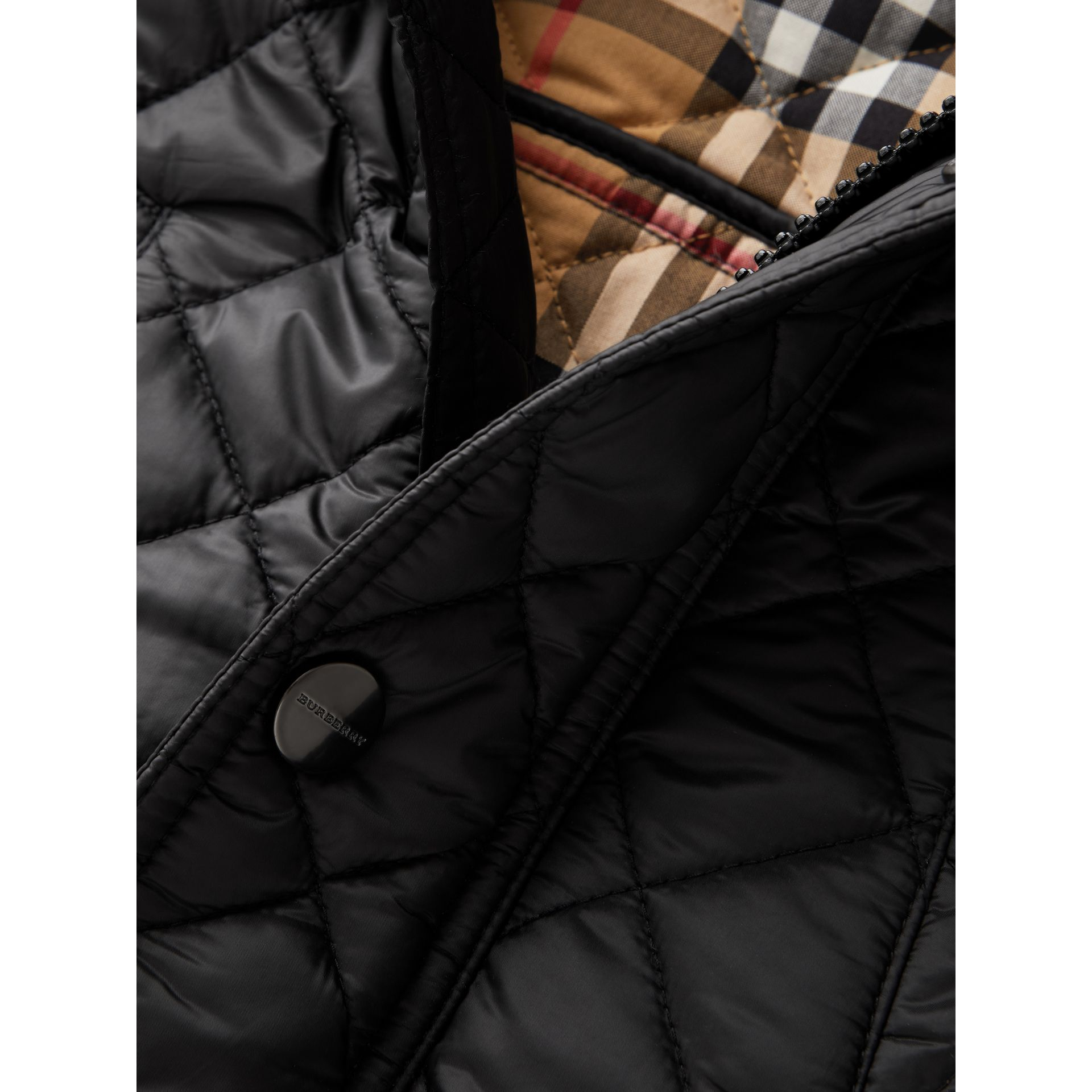 Detachable Hood Diamond Quilted Jacket in Black | Burberry Australia - gallery image 1