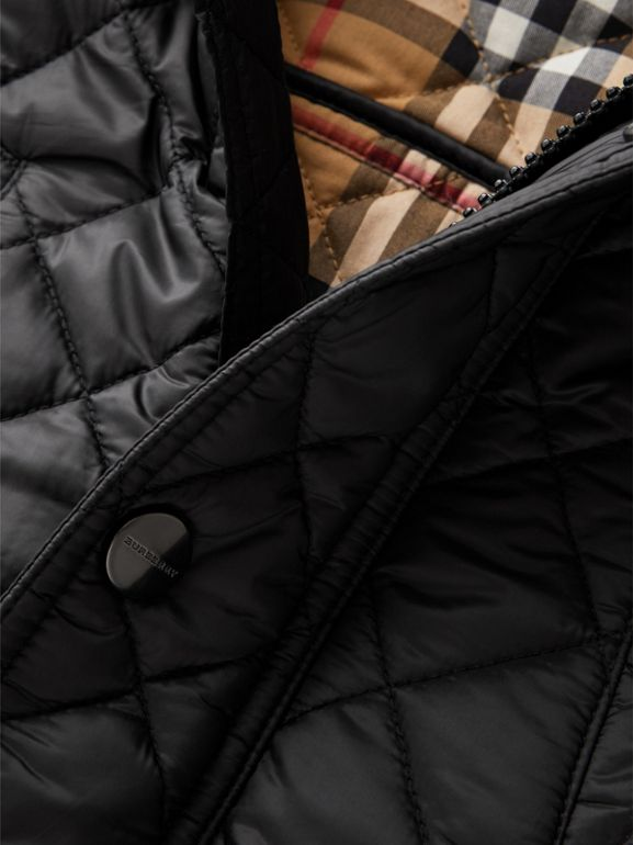Detachable Hood Diamond Quilted Jacket in Black | Burberry - cell image 1