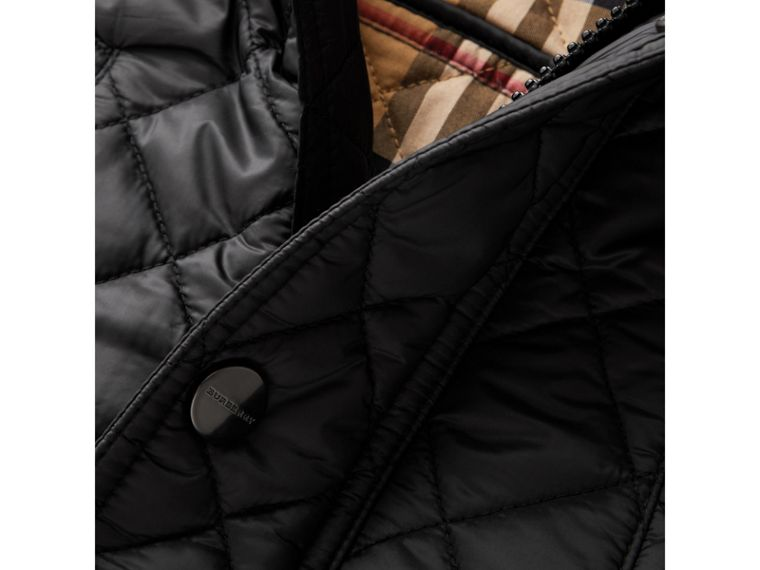 Detachable Hood Diamond Quilted Jacket in Black - Boy | Burberry United States - cell image 1