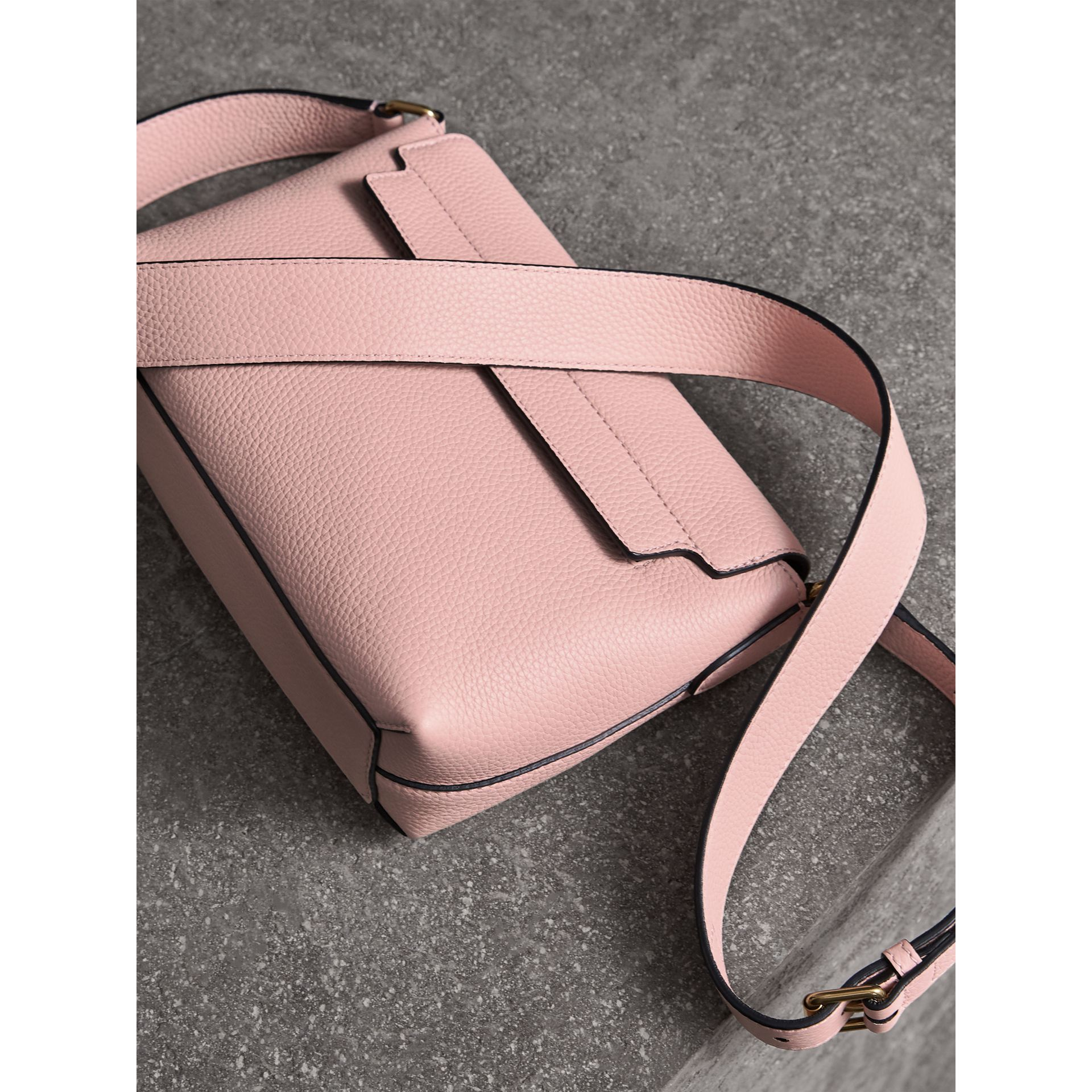 Small Embossed Leather Messenger Bag in Pale Ash Rose - Women | Burberry - gallery image 4