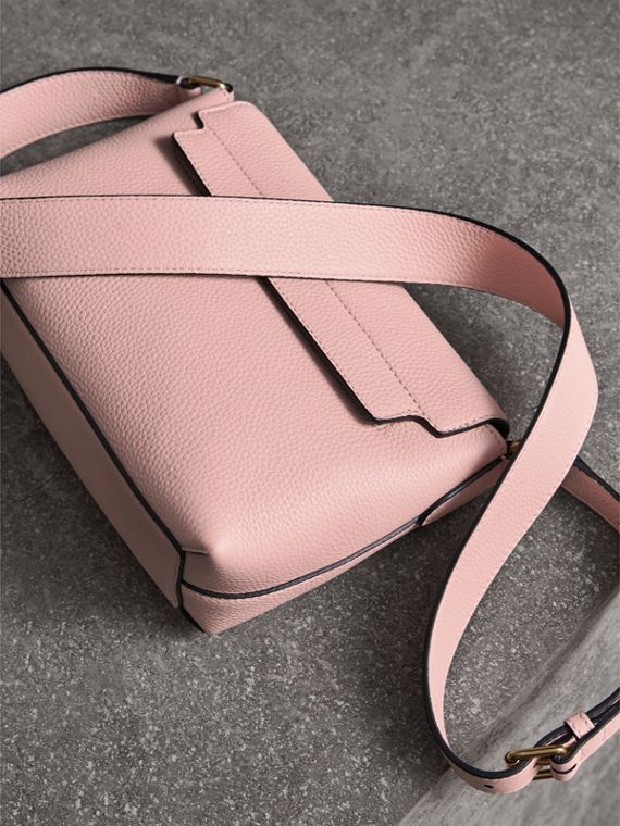 Small Embossed Leather Messenger Bag in Pale Ash Rose - Women | Burberry Australia - cell image 3