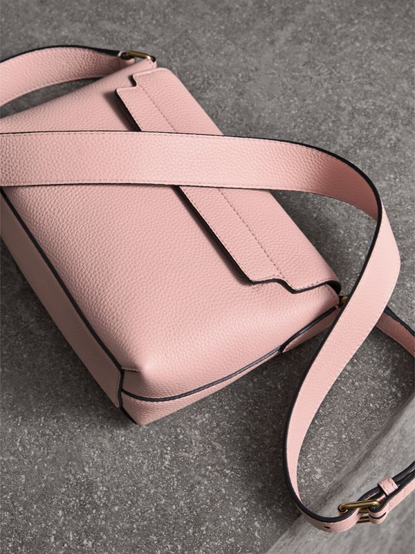 Small Embossed Leather Messenger Bag in Pale Ash Rose - Women | Burberry - cell image 3