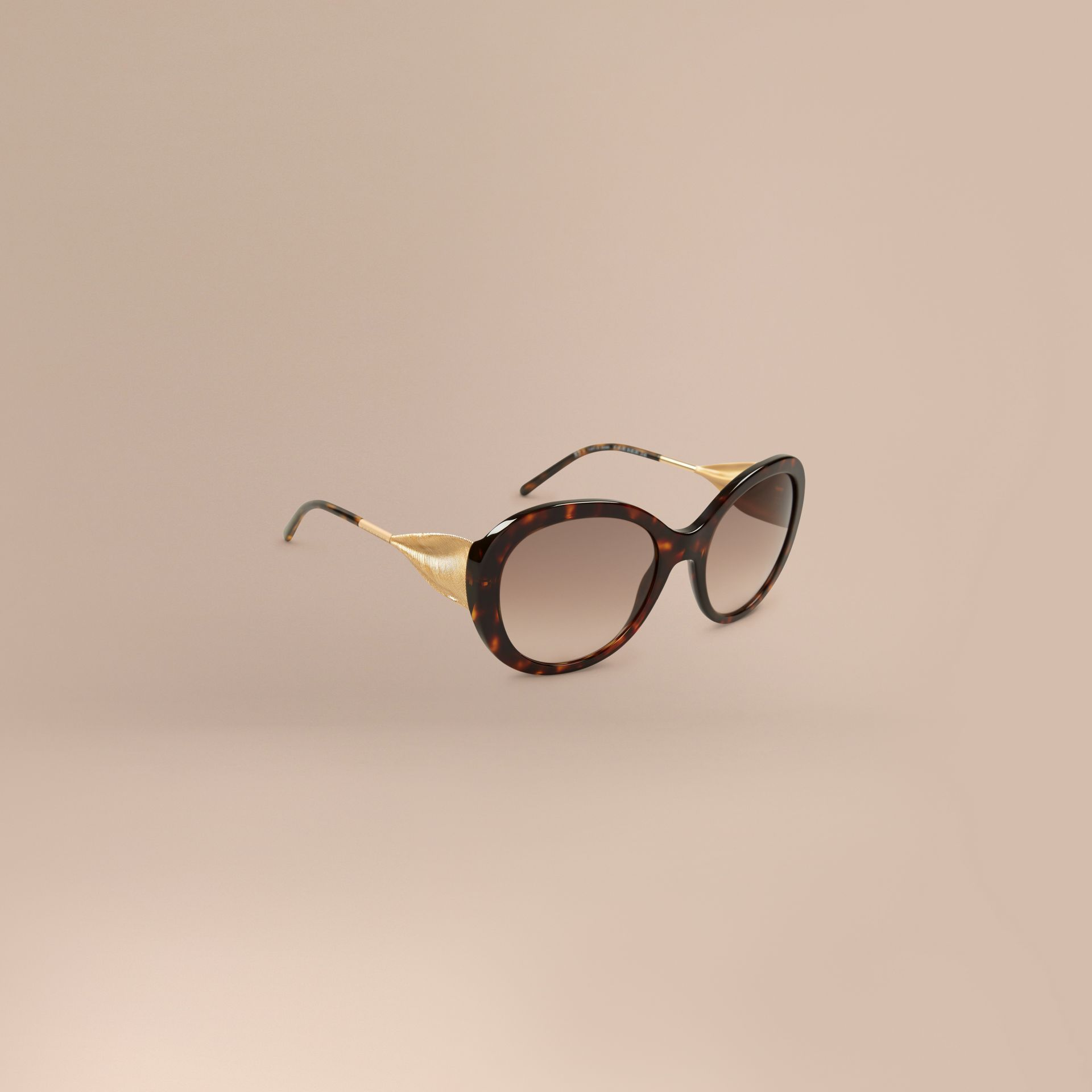 Ebano Occhiali da sole oversize con montatura tonda Ebano - immagine della galleria 1