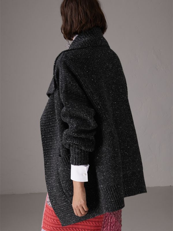 Wool Cashmere Blend Oversized Cardigan in Black - Women | Burberry - cell image 2