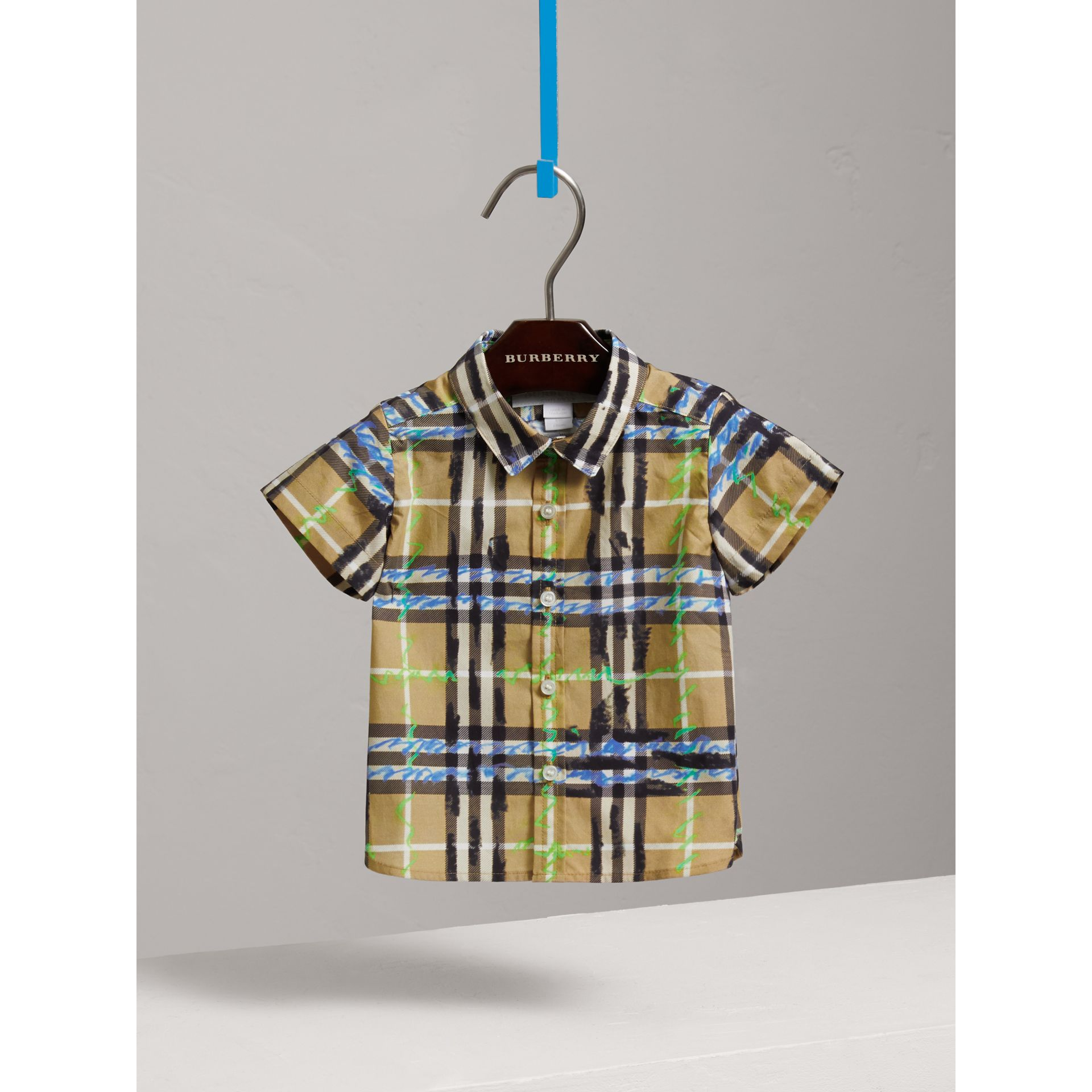 Short-sleeve Scribble Check Cotton Shirt in Bright Blue | Burberry - gallery image 0