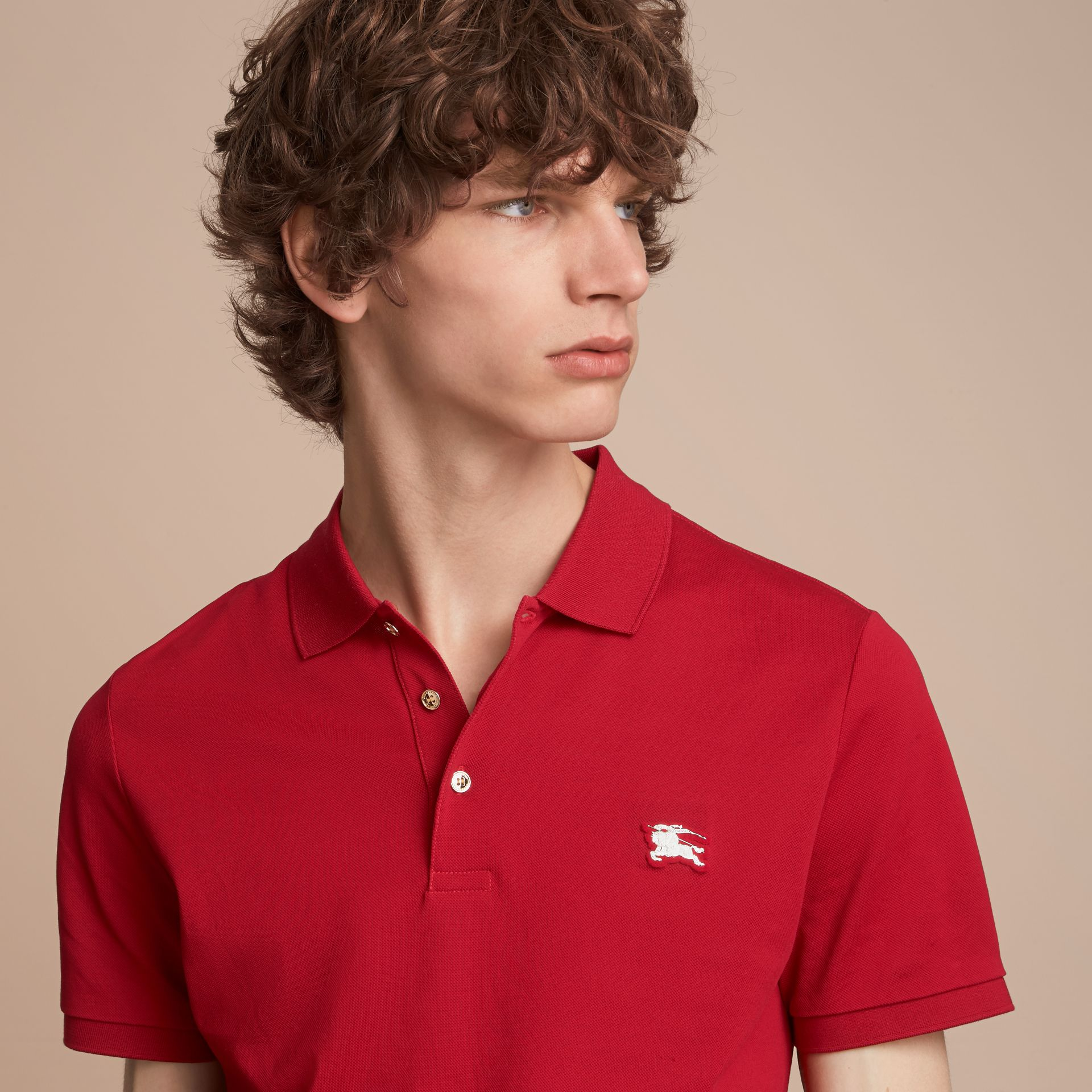 Cotton Piqué Polo Shirt Military Red - gallery image 5