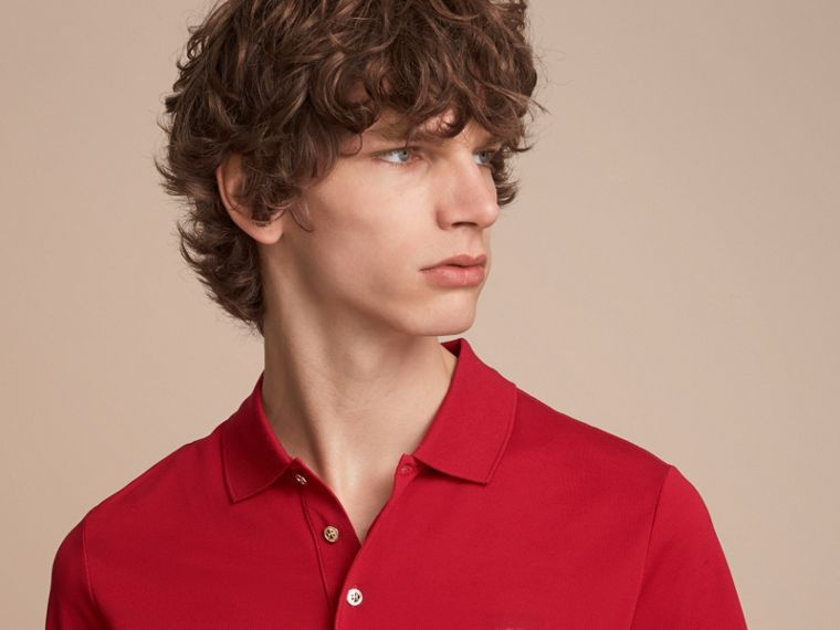 Cotton Piqué Polo Shirt Military Red - cell image 4
