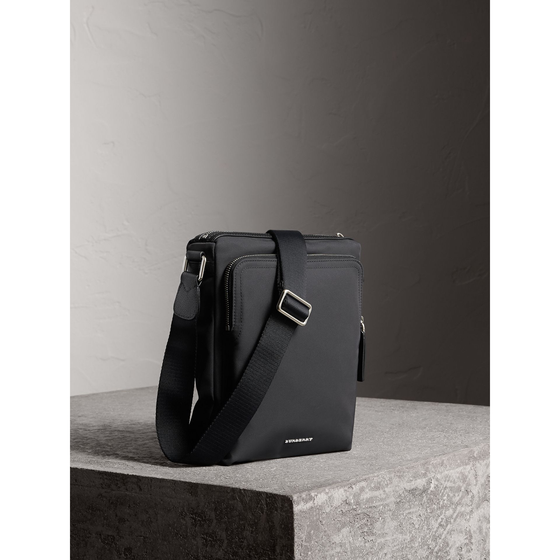 Small Technical Crossbody Bag with Leather Trim in Black - Men | Burberry Australia - gallery image 5