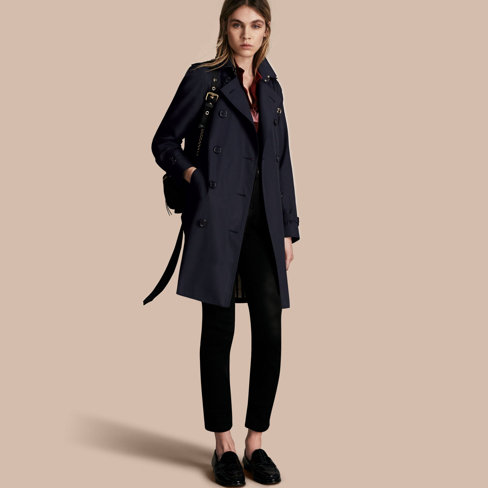 Navy The Kensington – Long Heritage Trench Coat Navy - gallery image 1