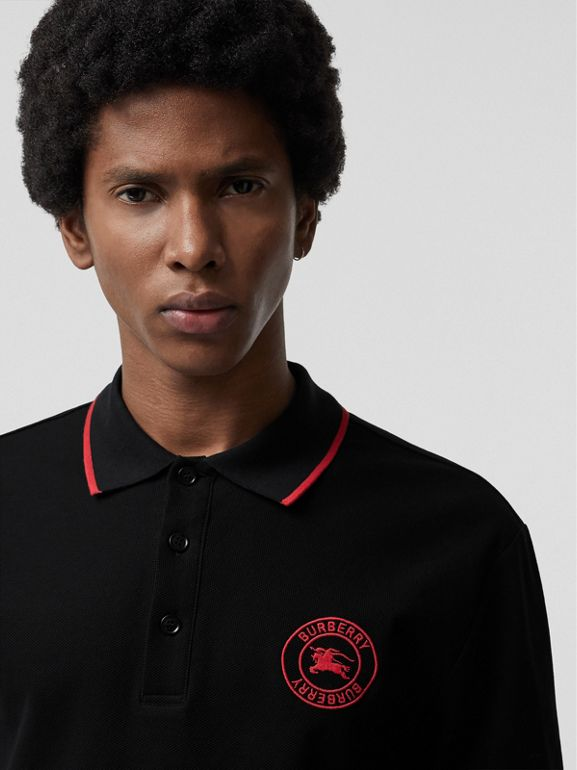 Embroidered Logo Cotton Piqué Polo Shirt in Black - Men | Burberry - cell image 1