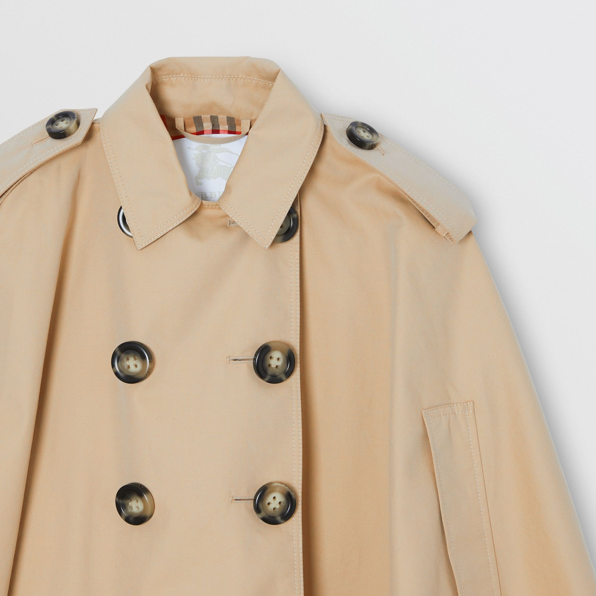 Cotton Gabardine Trench Cape in Honey | Burberry - gallery image 4