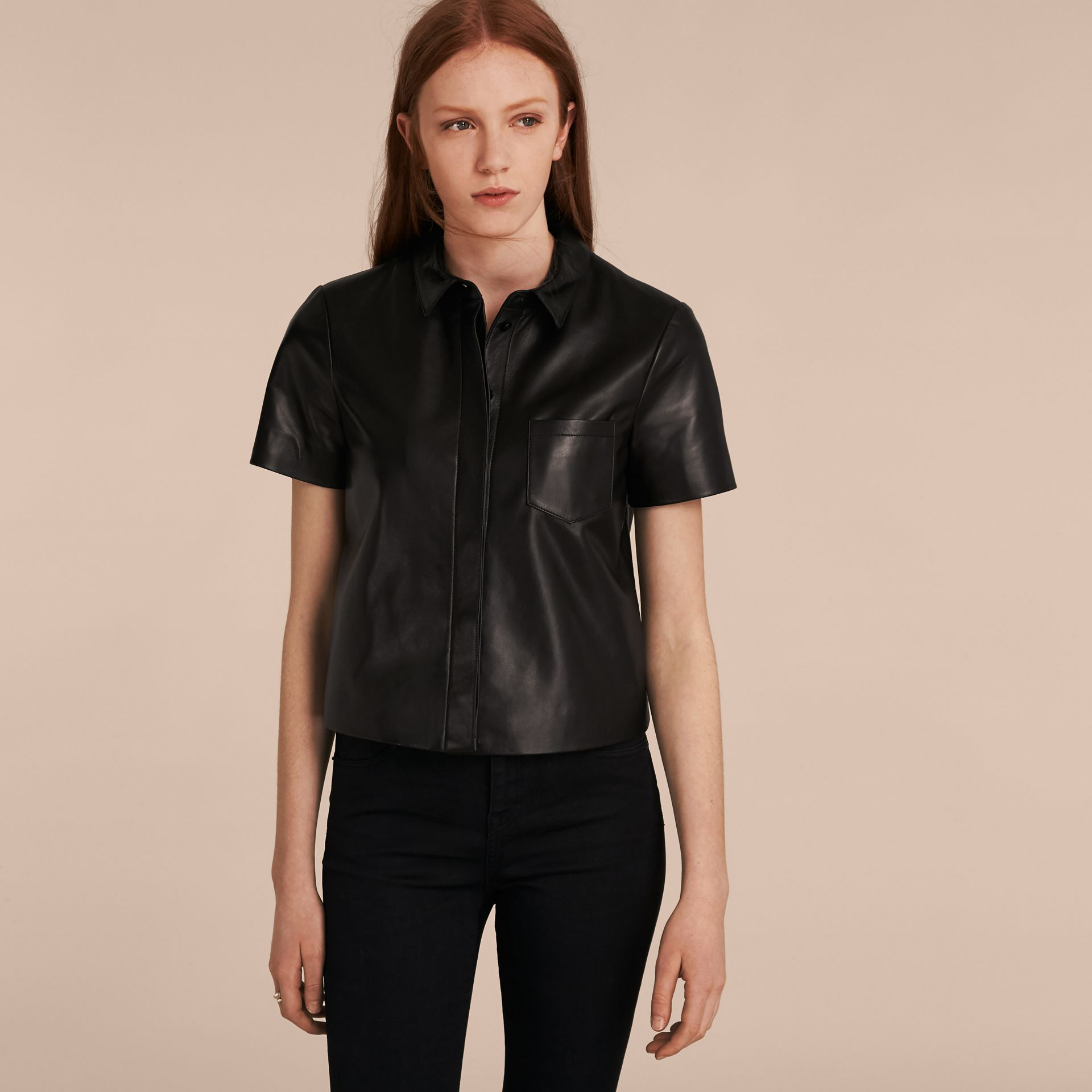 Black Short-sleeved Lambskin Shirt - gallery image 6