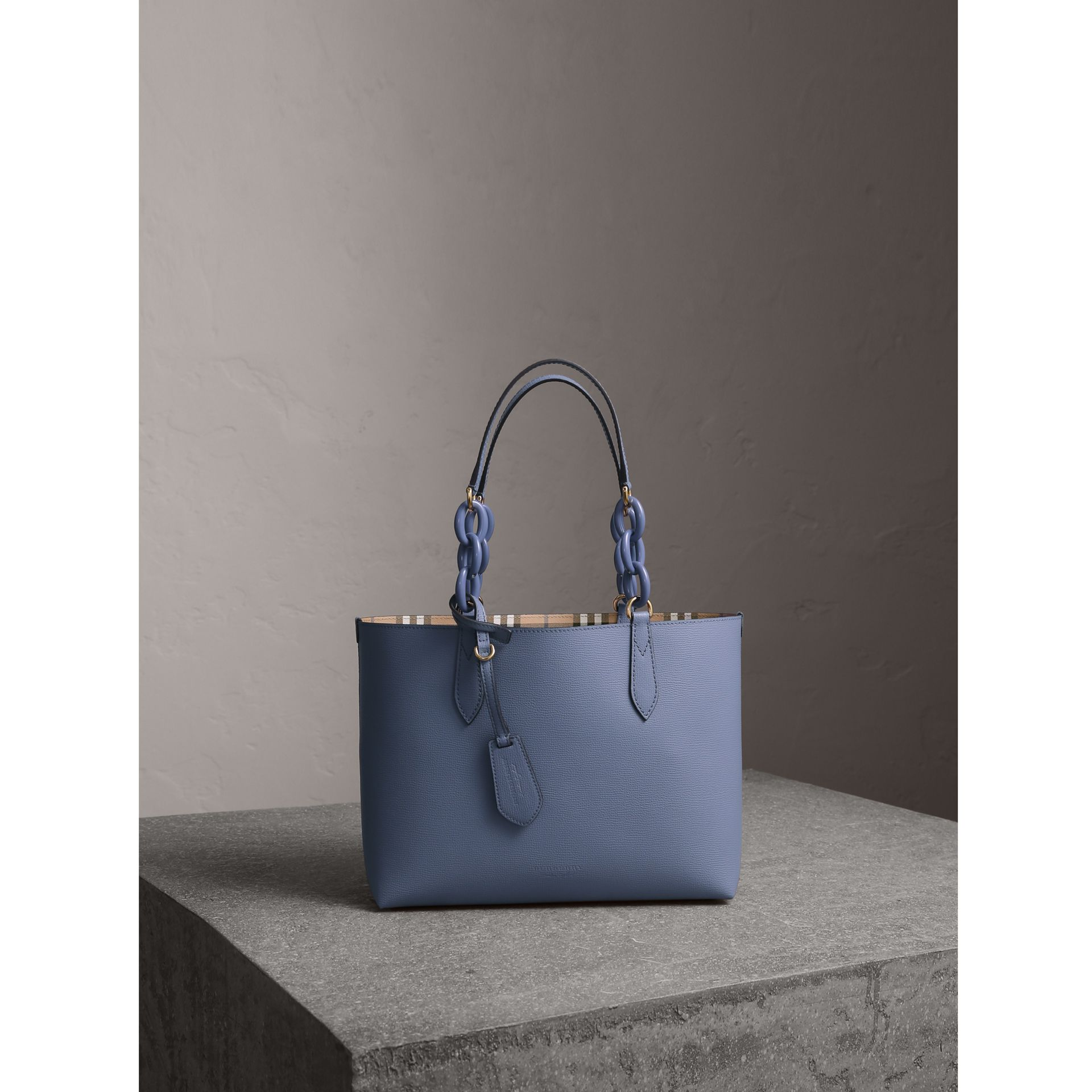 The Small Reversible Tote with Resin Chain in Slate Blue - Women | Burberry United Kingdom - gallery image 1