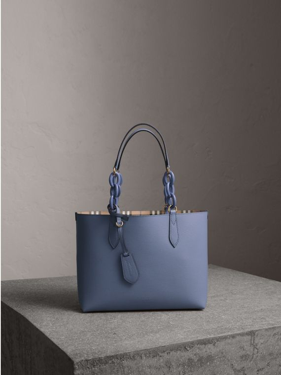 The Small Reversible Tote with Resin Chain in Slate Blue