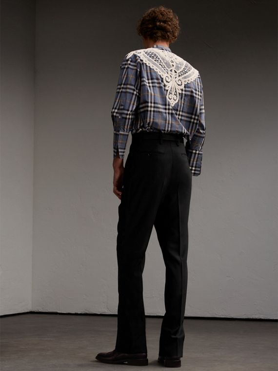 Lace Appliqué Check Cotton Shirt - Men | Burberry - cell image 2
