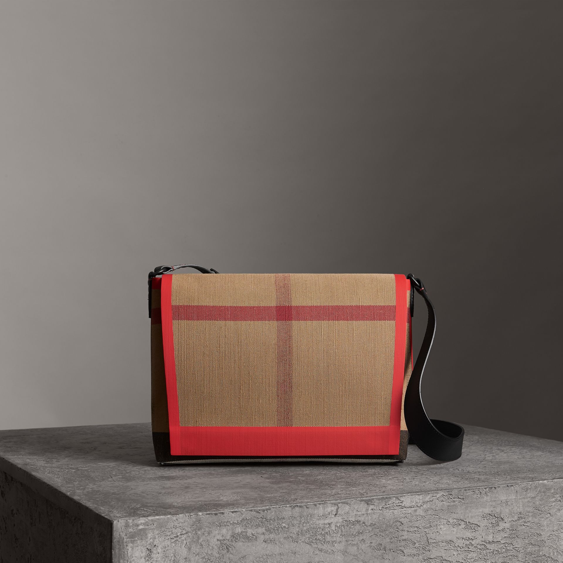Medium Leather Trim Check Messenger Bag in Military Red | Burberry - gallery image 0