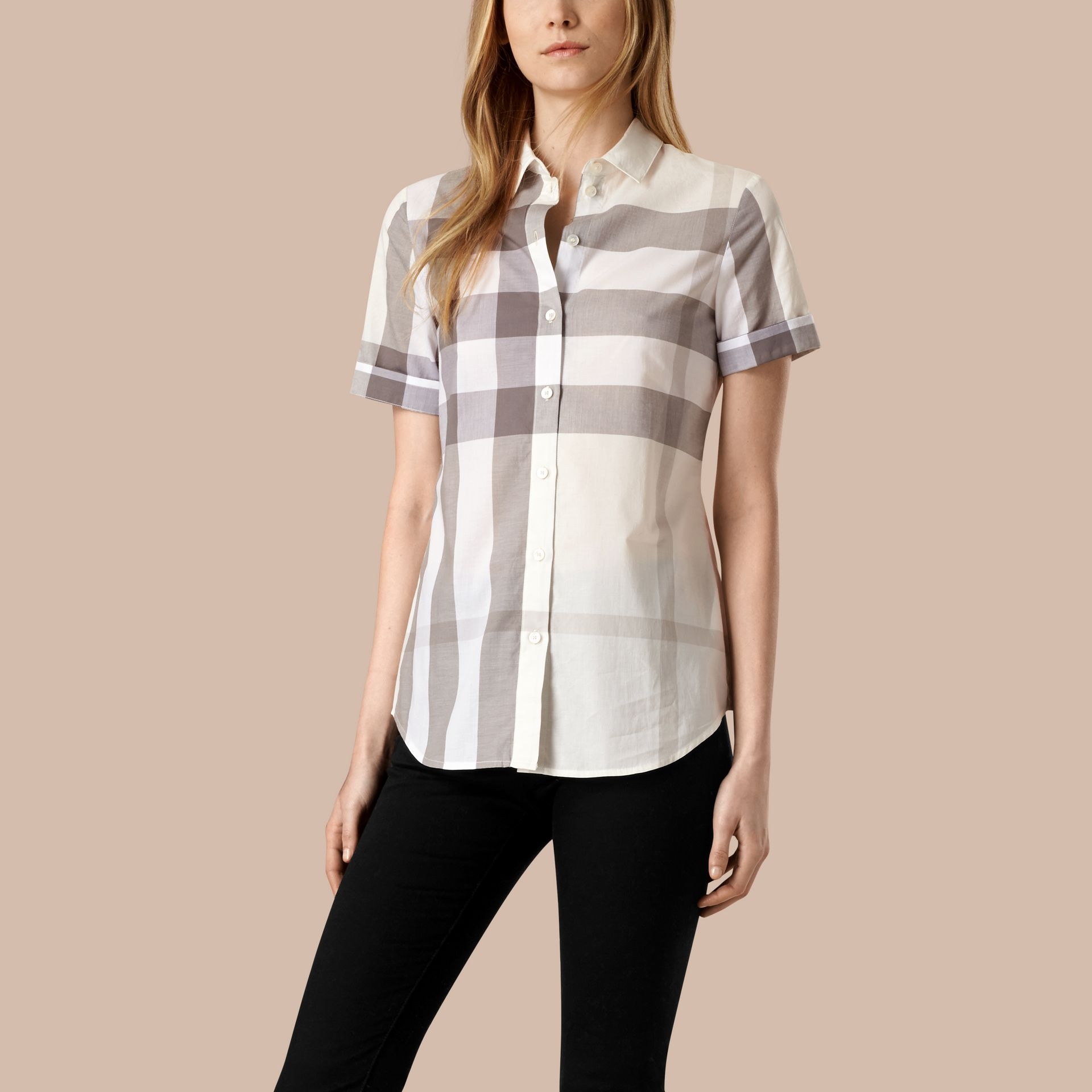 Natural Short-sleeved Check Cotton Shirt Natural - gallery image 1
