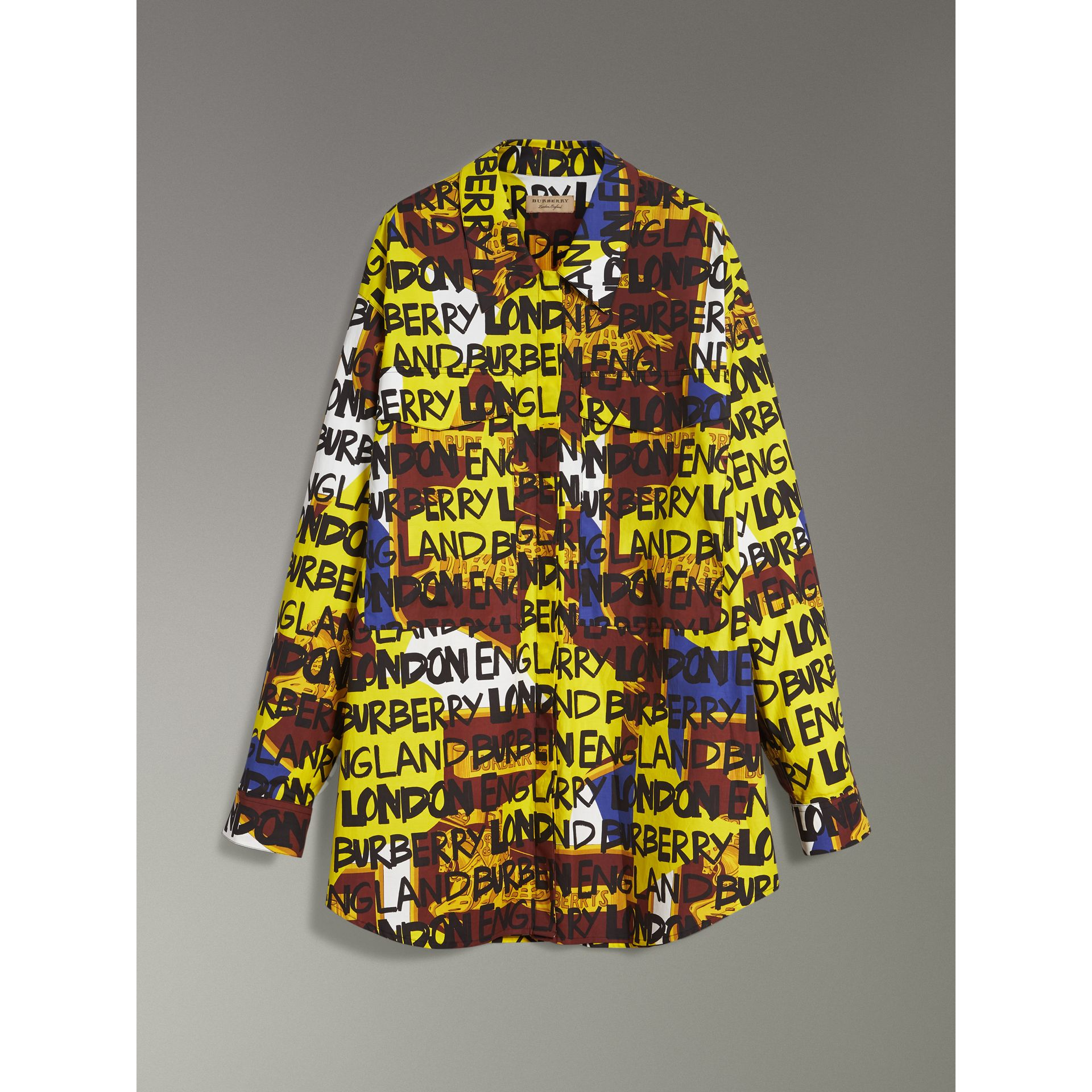 Graffiti Print Stretch-cotton Shirt in Bright Yellow - Women | Burberry Canada - gallery image 3