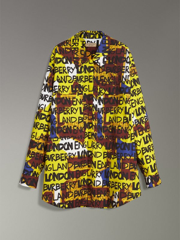 Graffiti Print Stretch-cotton Shirt in Bright Yellow - Women | Burberry Hong Kong - cell image 3