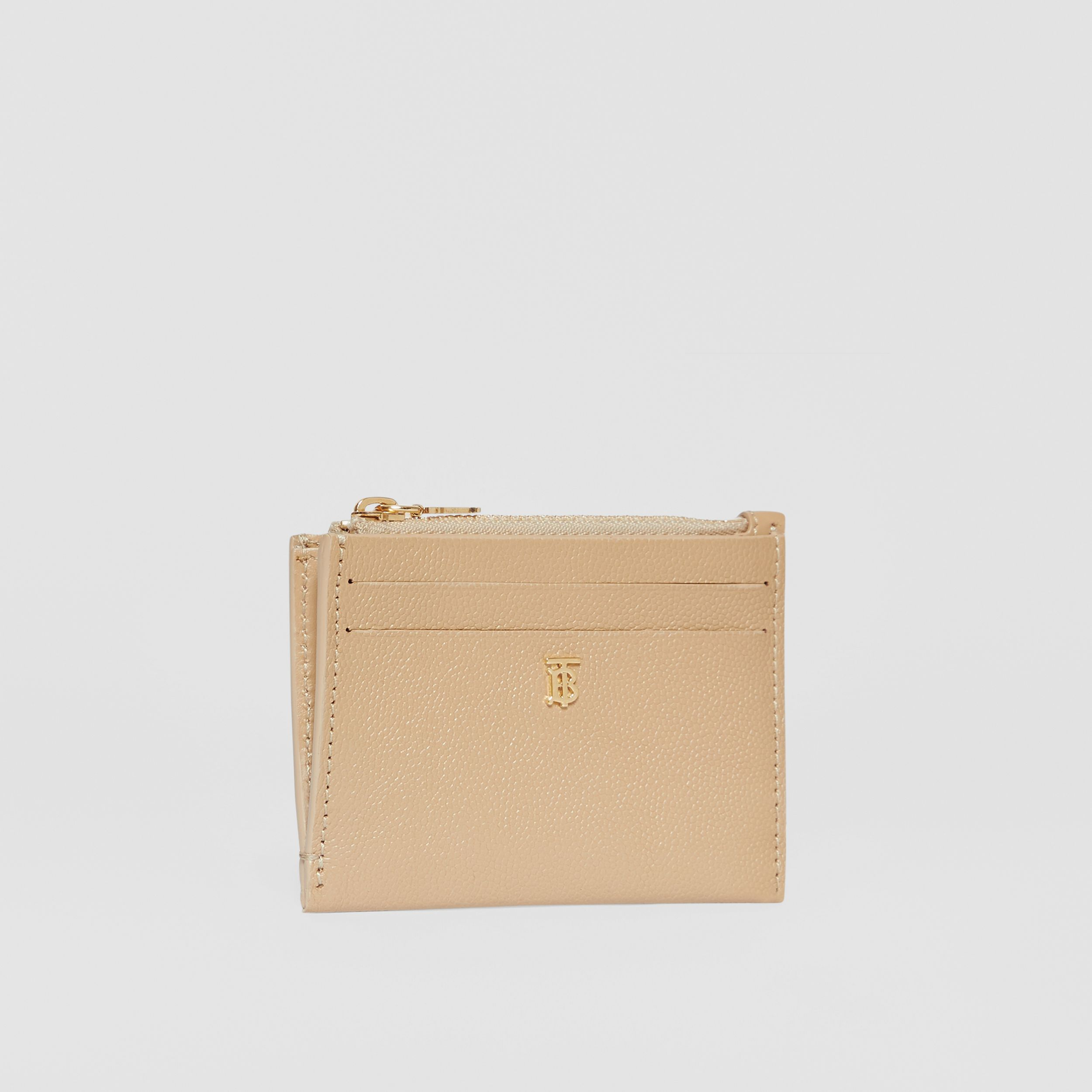 Monogram Motif Grainy Leather Zip Card Case in Archive Beige - Women | Burberry - 4