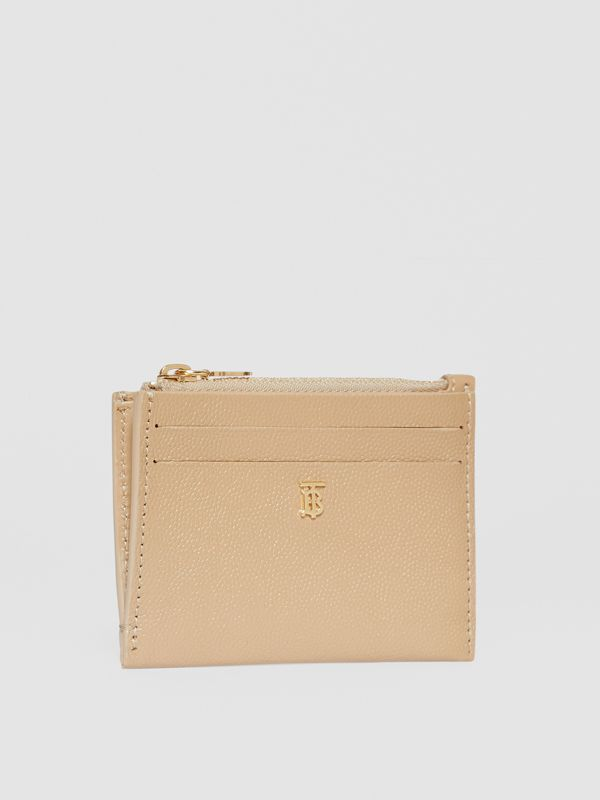 Monogram Motif Grainy Leather Zip Card Case in Archive Beige - Women | Burberry Canada - cell image 3