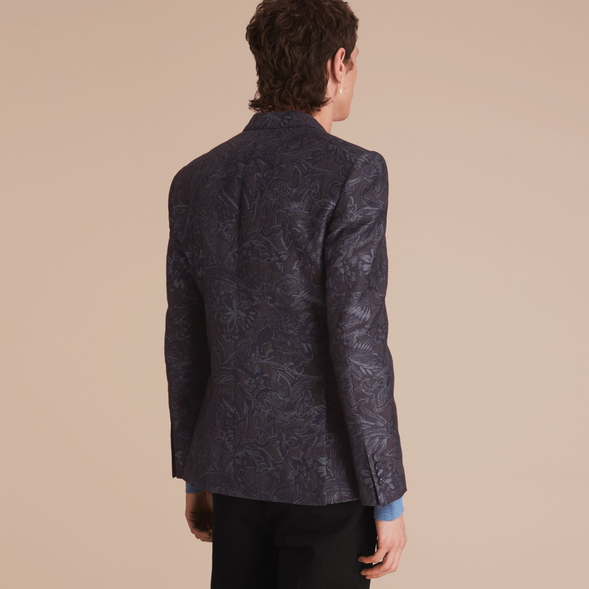 Slim Fit Beasts Fil Coupé Wool Silk Tailored Jacket in Stone Blue - Men | Burberry - gallery image 3