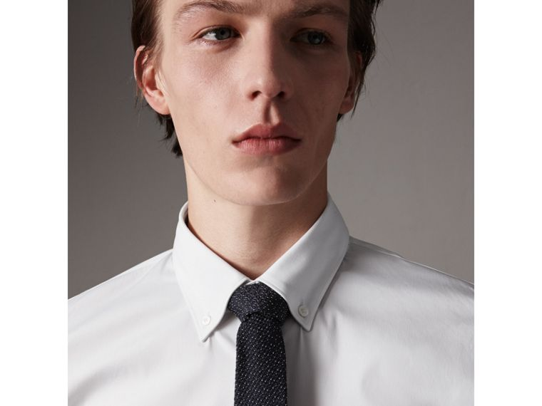 Slim Fit Stretch Cotton Shirt in White - Men | Burberry - cell image 1
