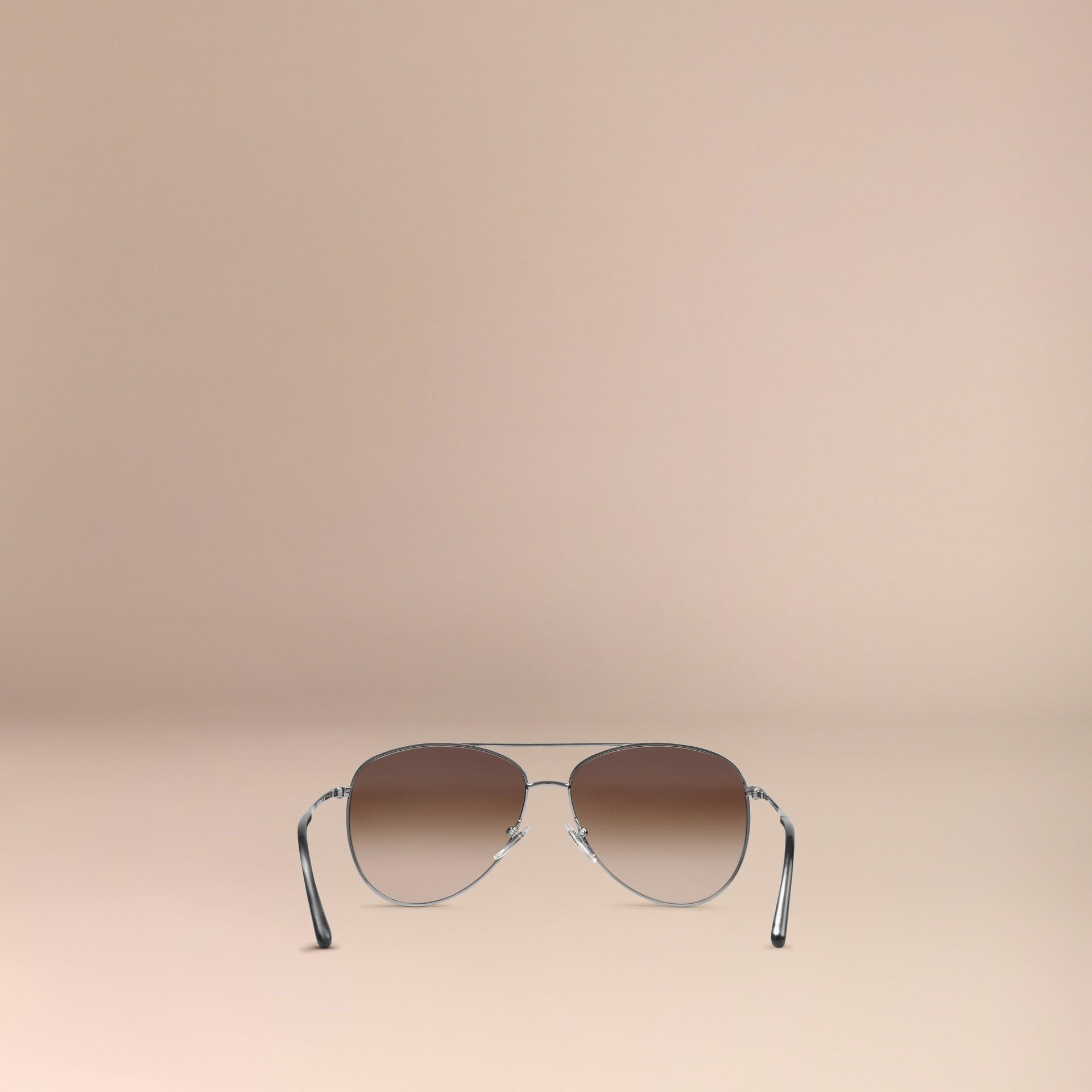 Nickel Check Arm Aviator Sunglasses Nickel - gallery image 3
