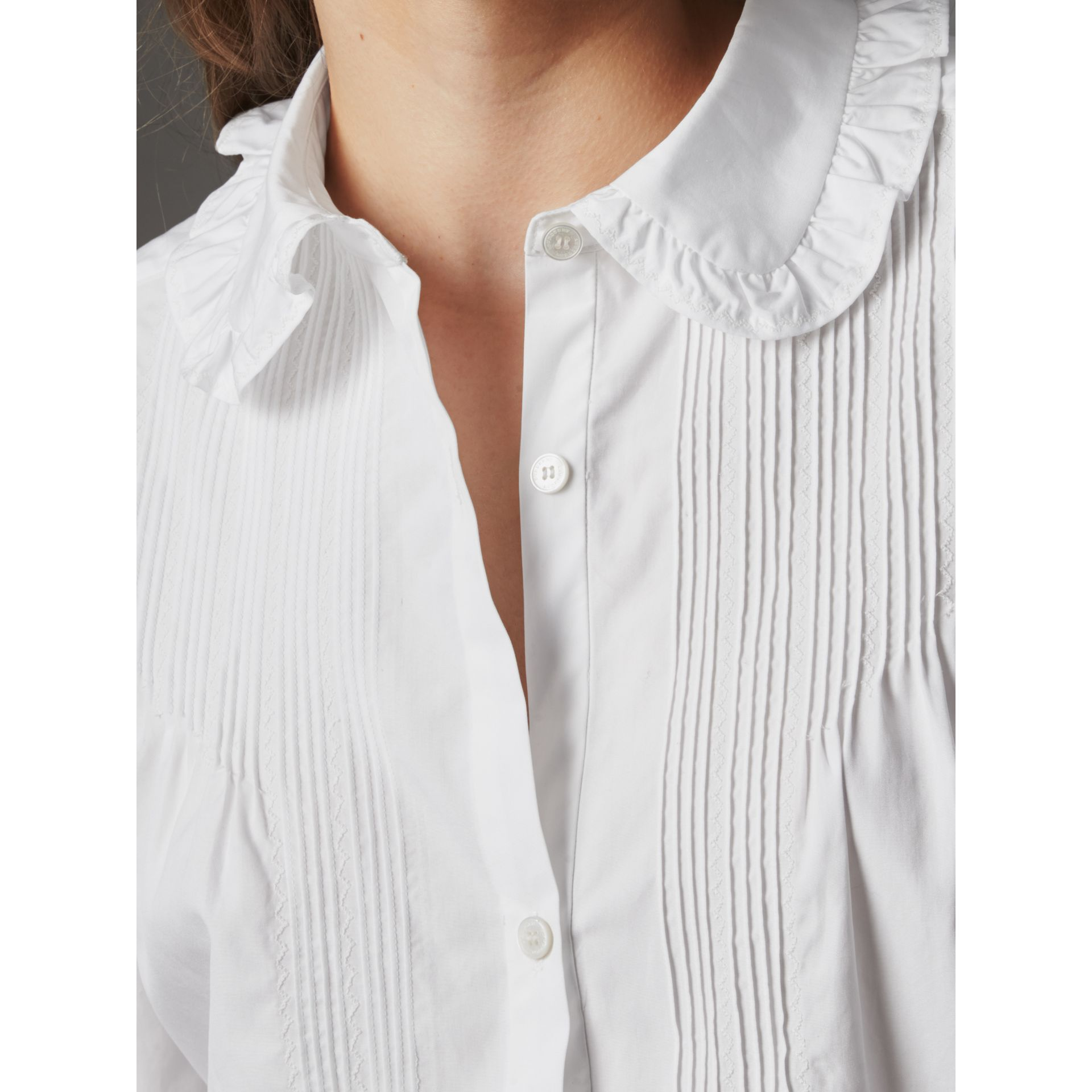 Ruffle and Pintuck Detail Cotton Shirt in White - Women | Burberry - gallery image 1