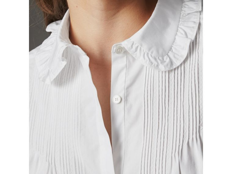 Ruffle and Pintuck Detail Cotton Shirt in White - Women | Burberry - cell image 1