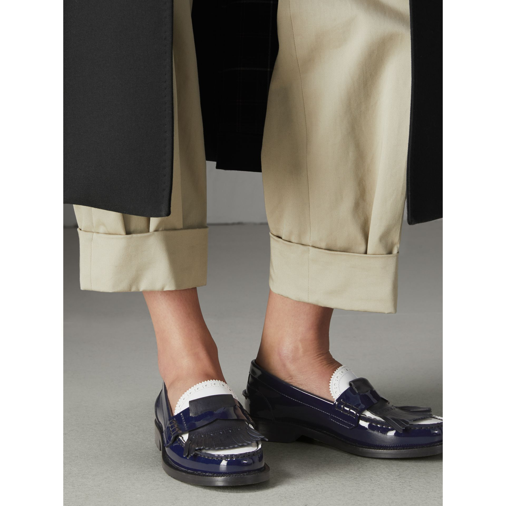 Tri-tone Kiltie Fringe Leather Loafers in Navy - Women | Burberry United Kingdom - gallery image 2