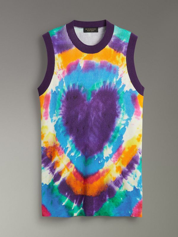 Tie-dye Print Cashmere Vest in Multicolour | Burberry Singapore - cell image 3