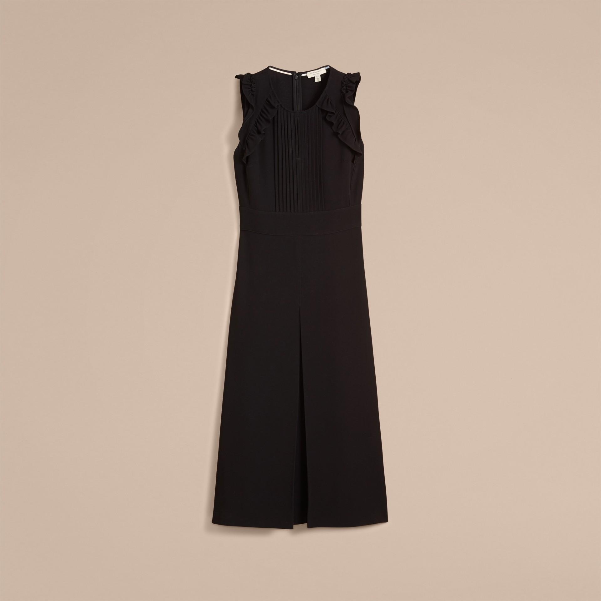 Sleeveless Ruffle Trim Crepe Dress - gallery image 4