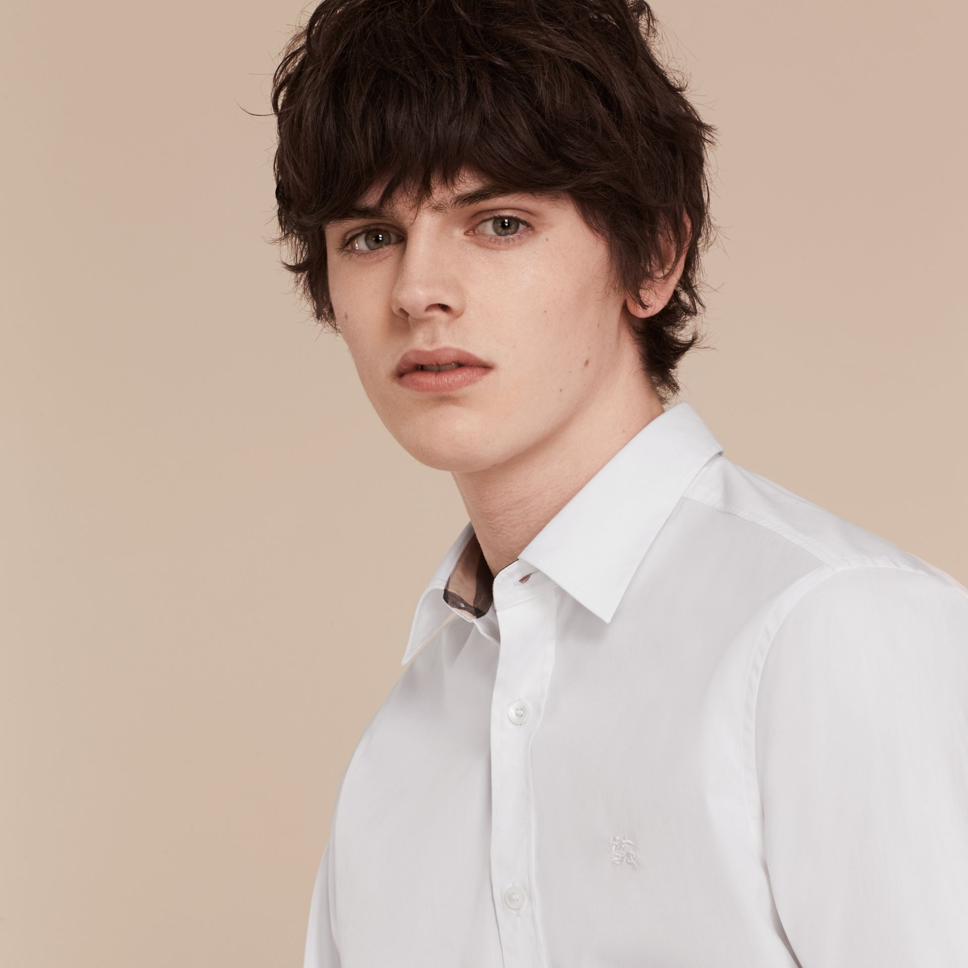 Stretch Cotton Poplin Shirt - Men | Burberry - gallery image 5