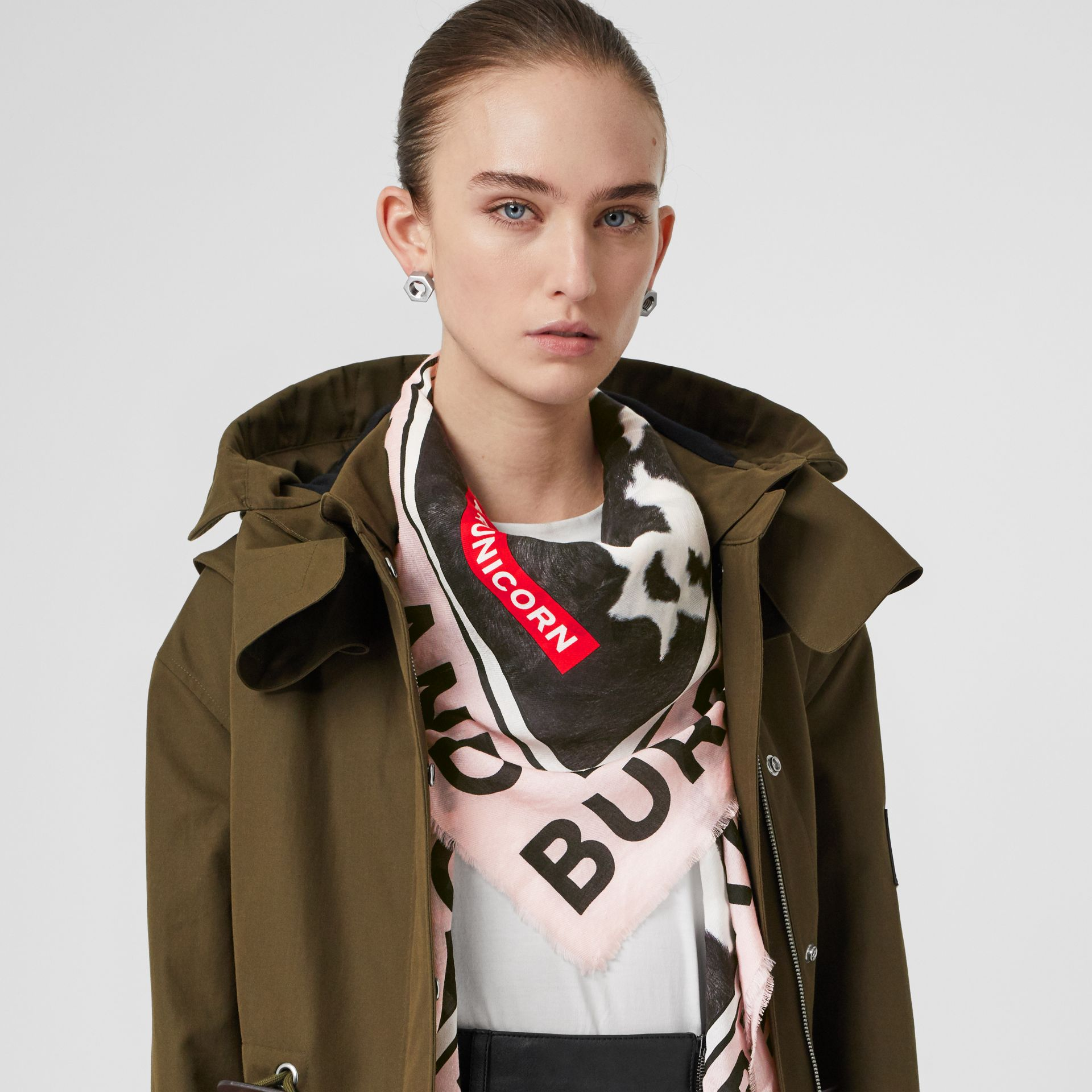Cow Print Cotton Silk Large Square Scarf in Black | Burberry - gallery image 2