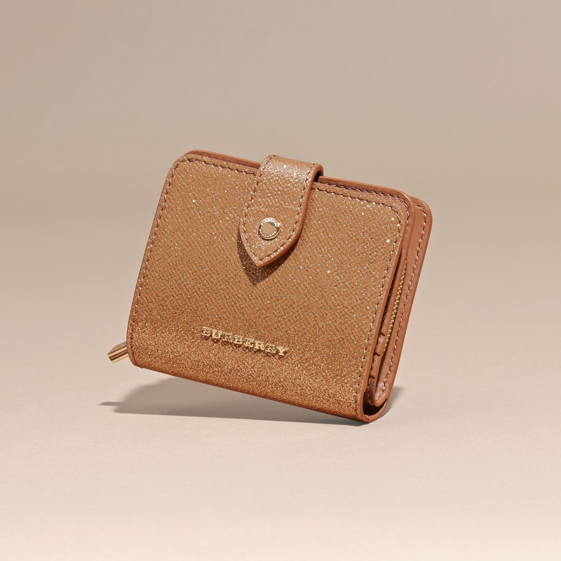 Glitter Patent London Leather Wallet in Camel / Gold - gallery image 3