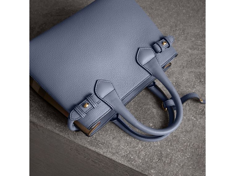 The Small Banner in Leather and House Check in Slate Blue - Women | Burberry - cell image 4