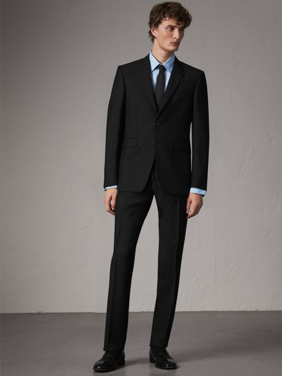Modern Fit Wool Mohair Part-canvas Suit in Black