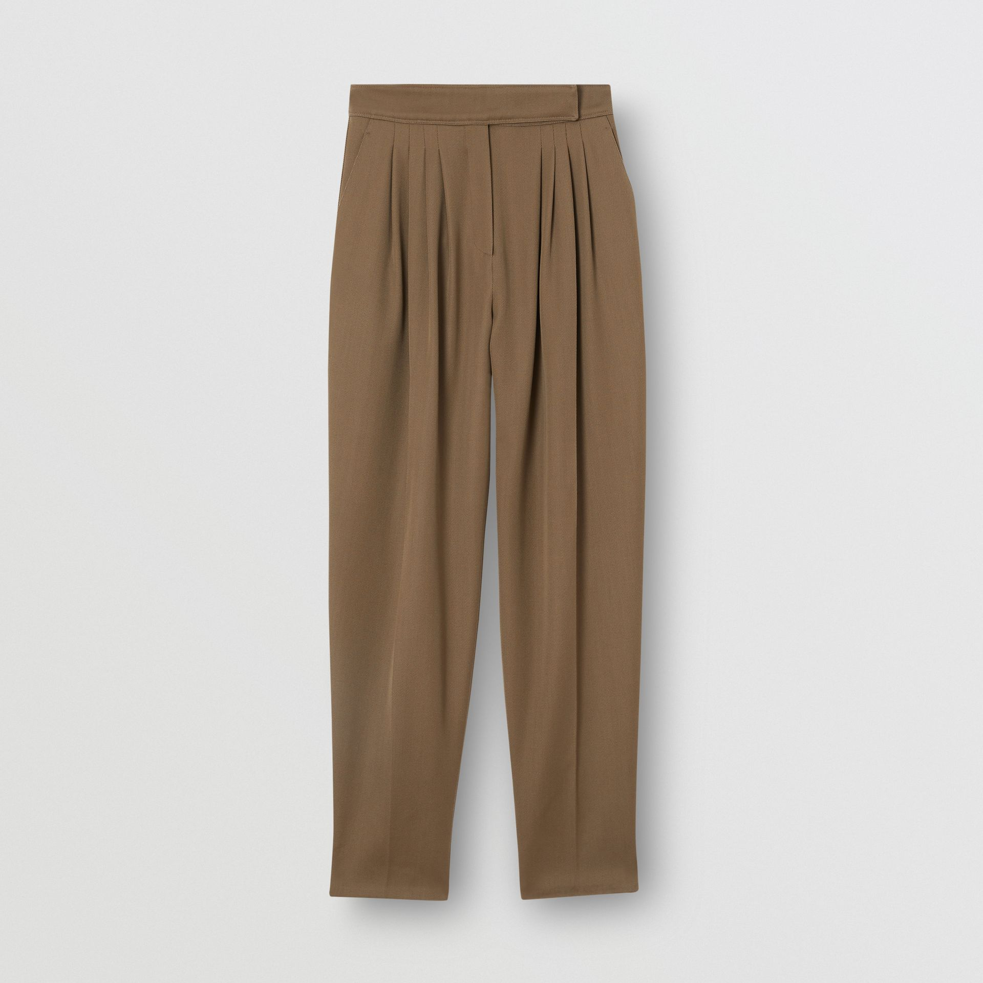Pleat Detail Wool Twill Tailored Trousers in Warm Taupe - Women | Burberry - gallery image 3