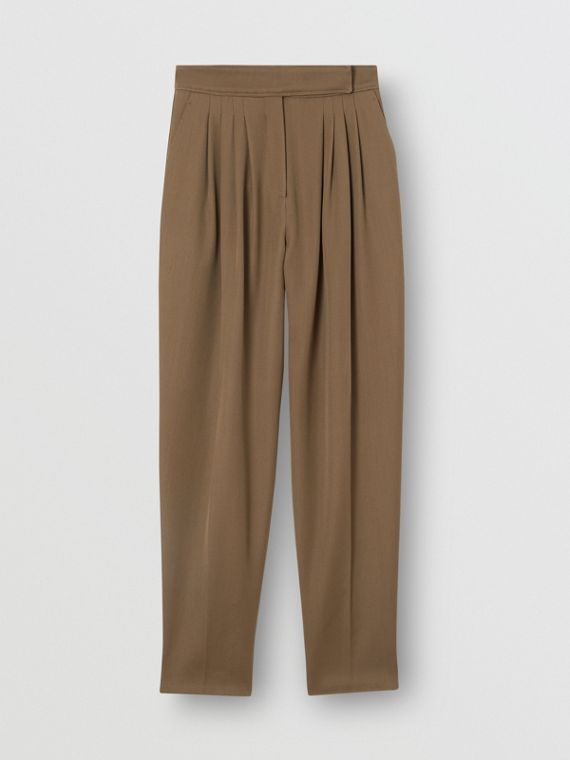 Pleat Detail Wool Twill Tailored Trousers in Warm Taupe