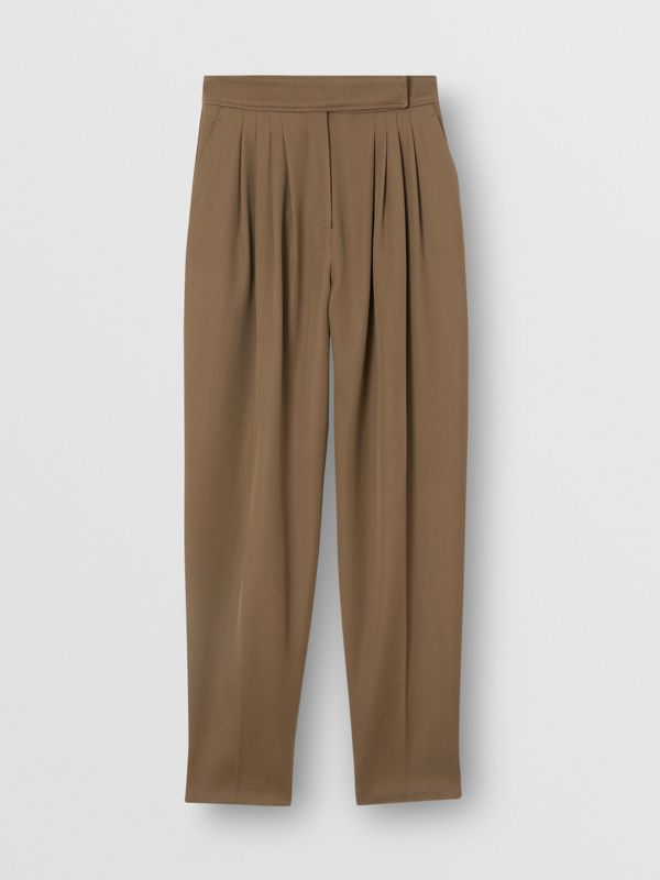 Pleat Detail Wool Twill Tailored Trousers in Warm Taupe - Women | Burberry - cell image 3