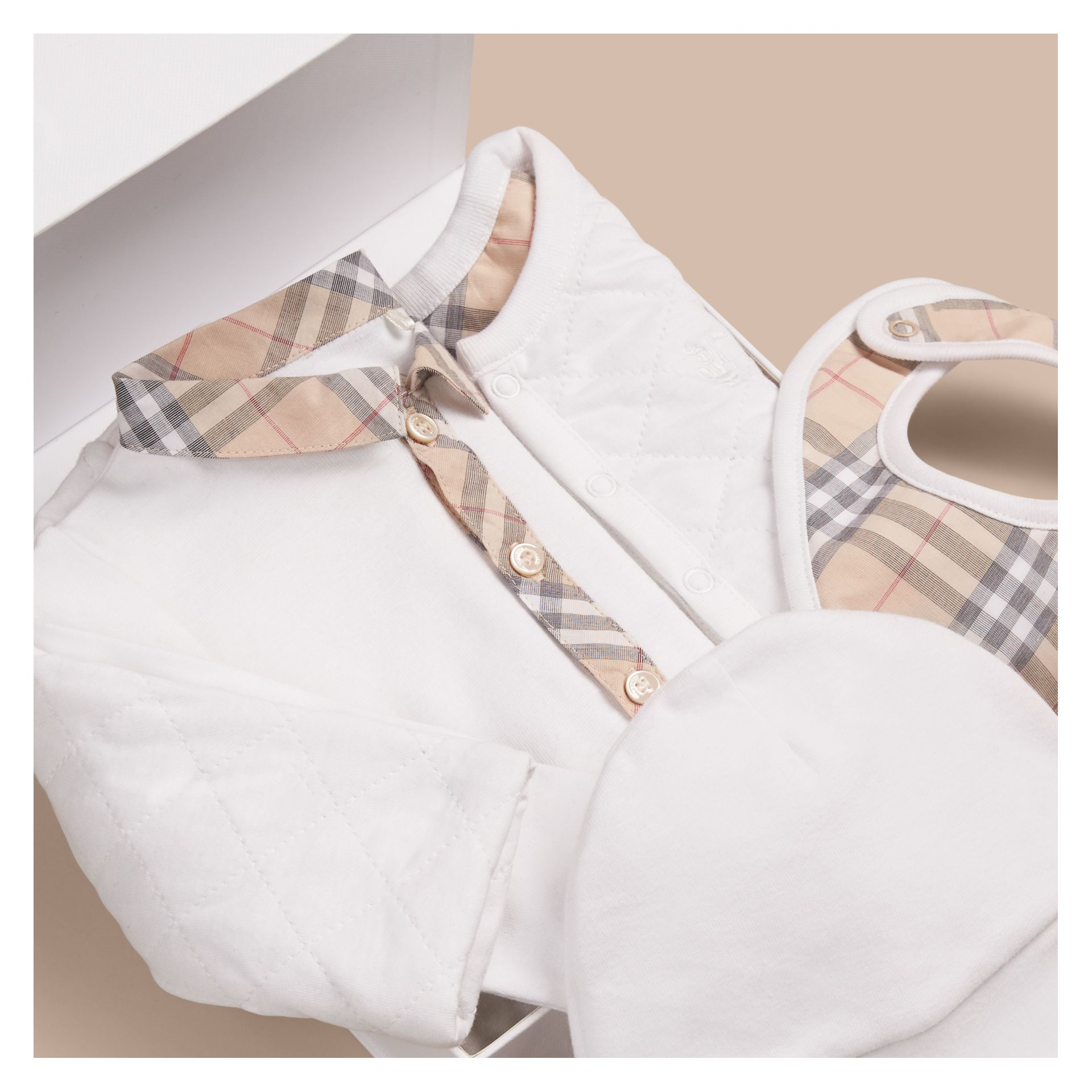 Cotton Four-piece Baby Gift Set - Boy | Burberry - gallery image 2